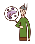 A型肝炎・B型肝炎・C型肝炎(おじいさん)のイラスト