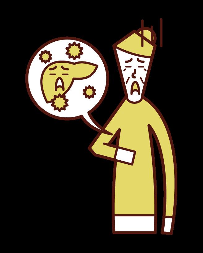 A型肝炎・B型肝炎・C型肝炎(おばあさん)のイラスト