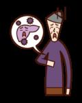 Illustration of hepatitis A, hepatitis B, hepatitis C (grandmother)