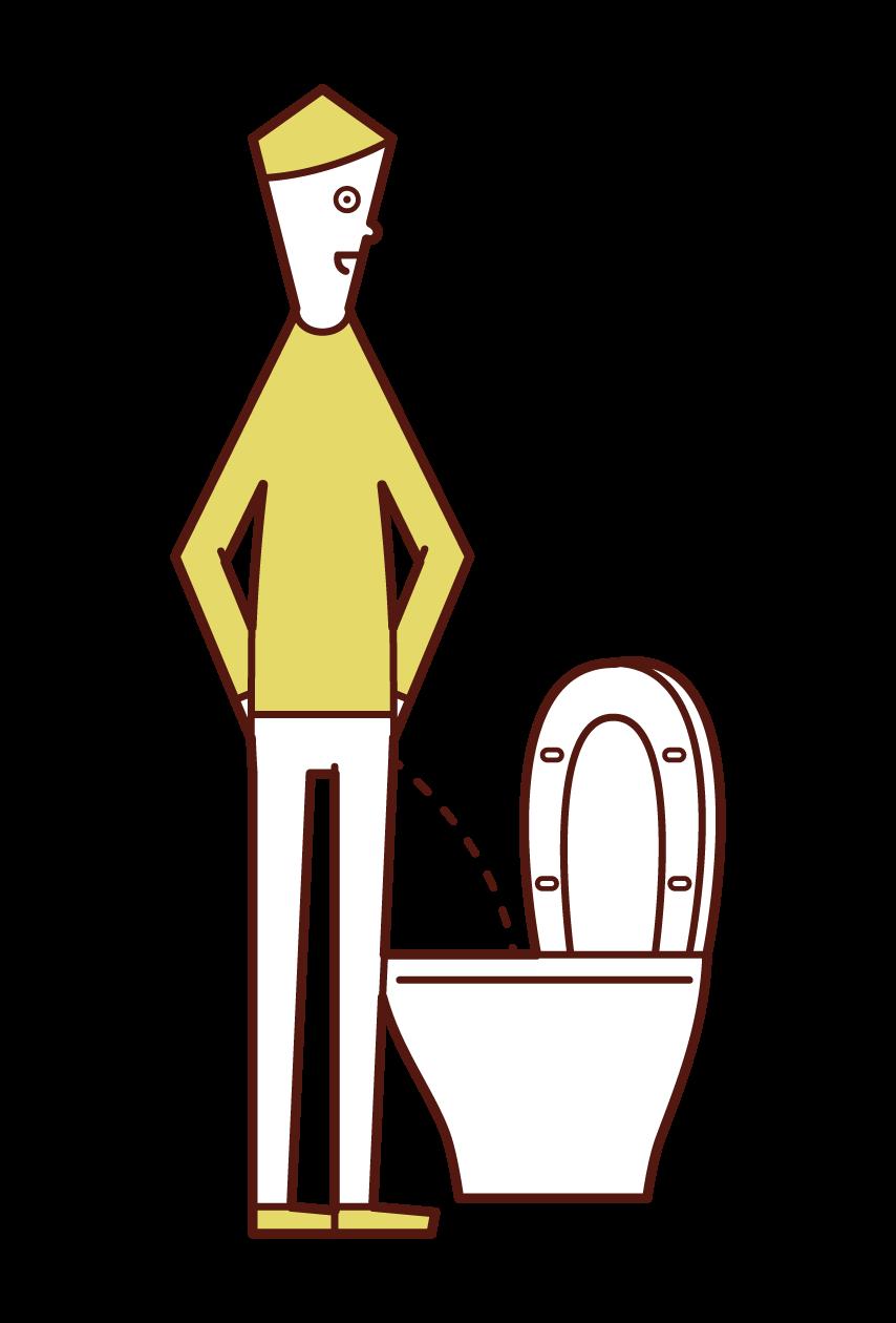 トイレで小便をする人(男性)のイラスト
