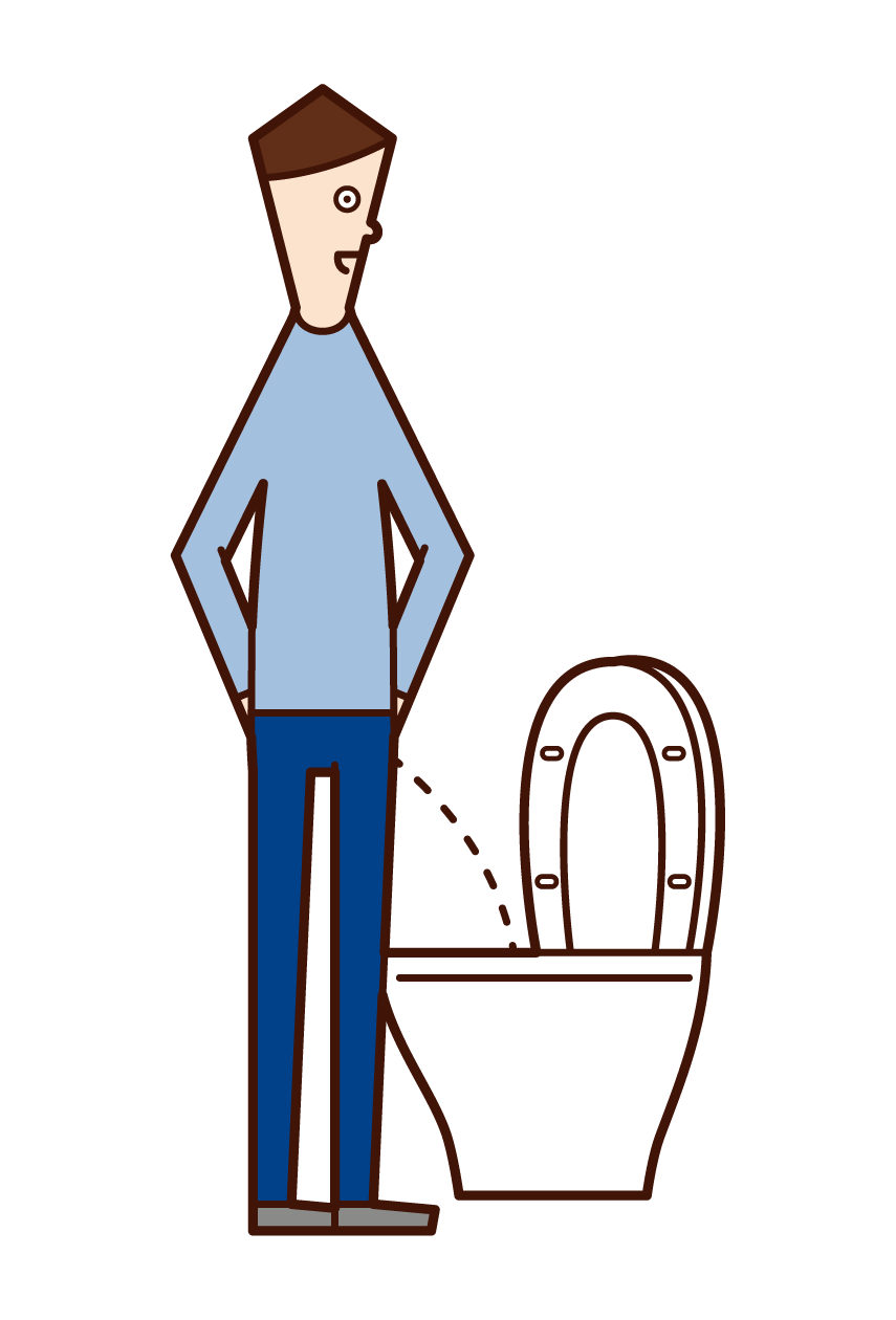 Illustration of a man in the toilet