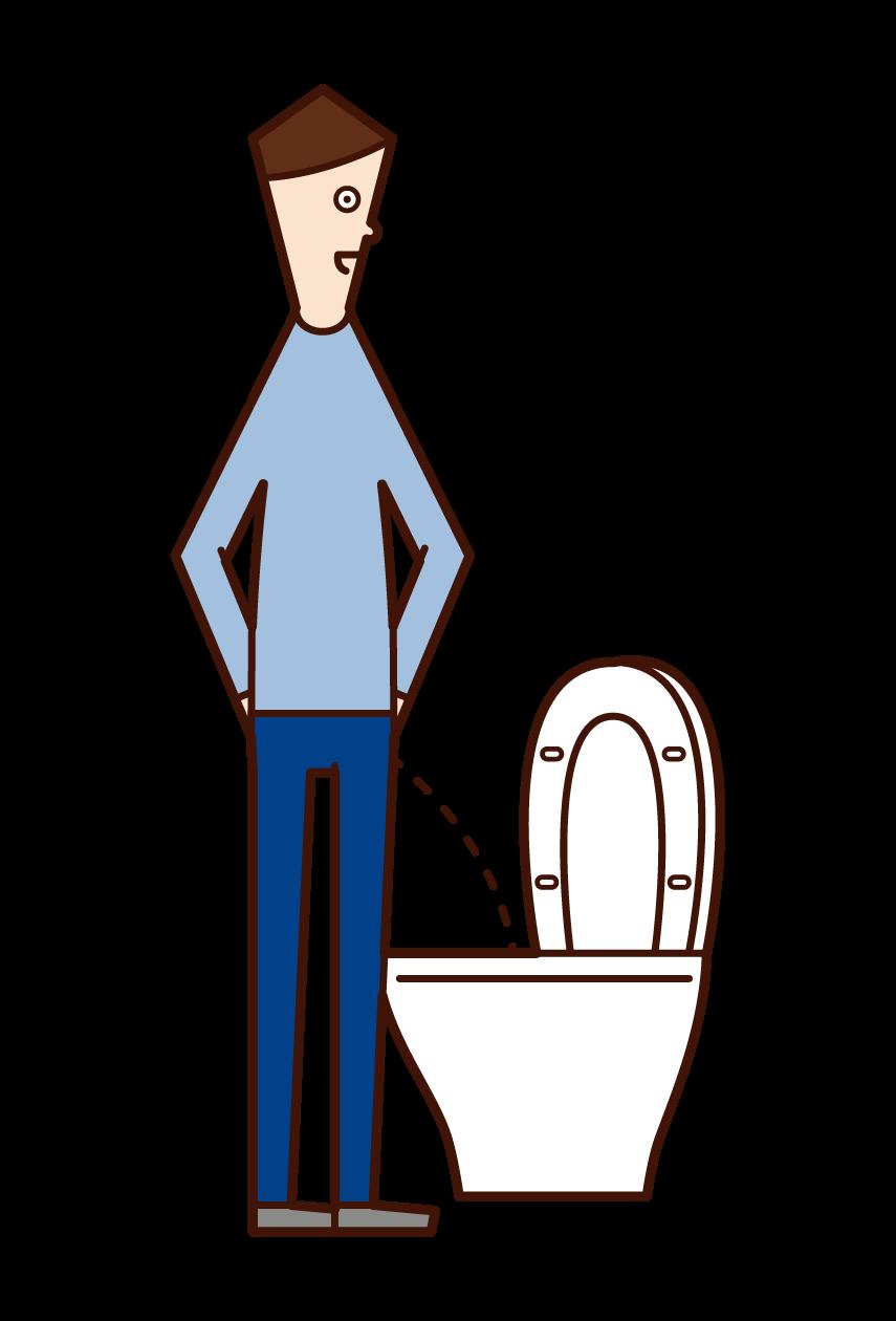 在廁所裡撒尿的人(男性)的插圖