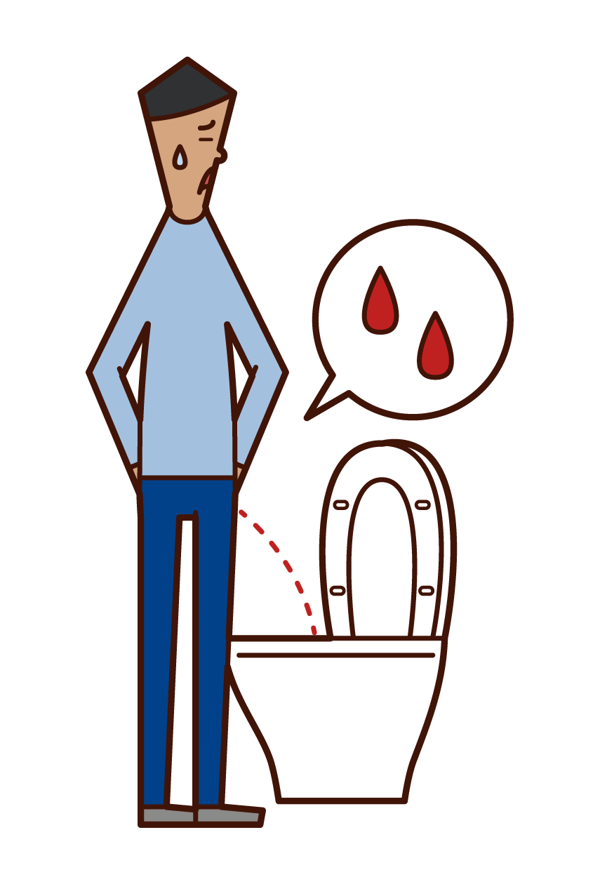 Illustration of hematuria and pyelonephritis (male)