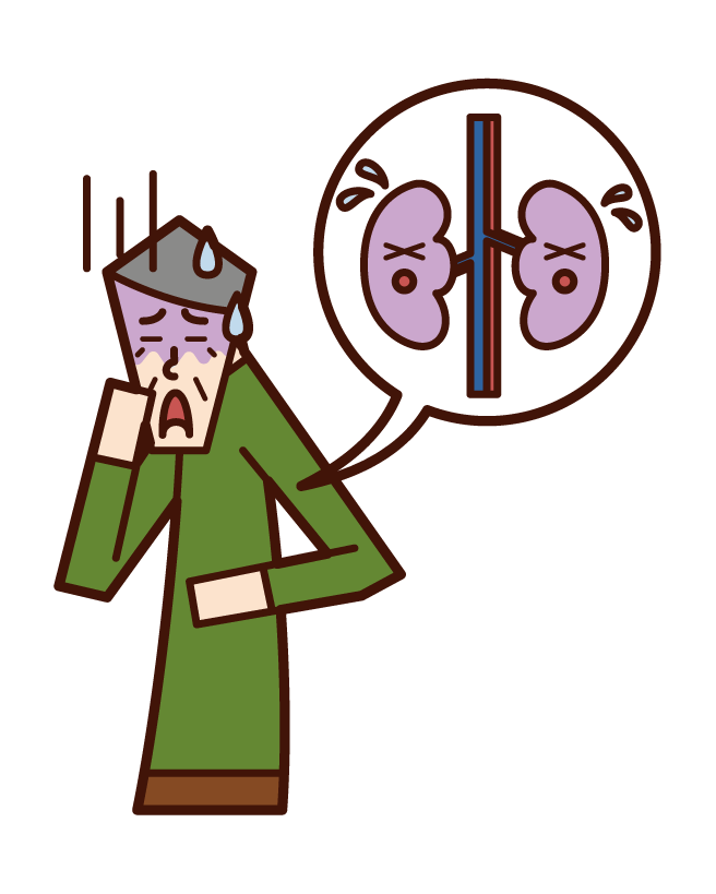 Illustration of kidney disease and renal cancer (old man)