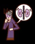腎臓病・腎癌(おばあさん)のイラスト