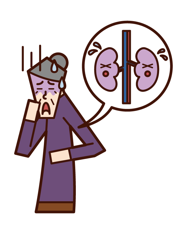 Illustration of kidney disease and renal cancer (grandmother)