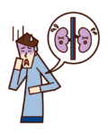 Illustration of kidney disease and renal cancer (male)