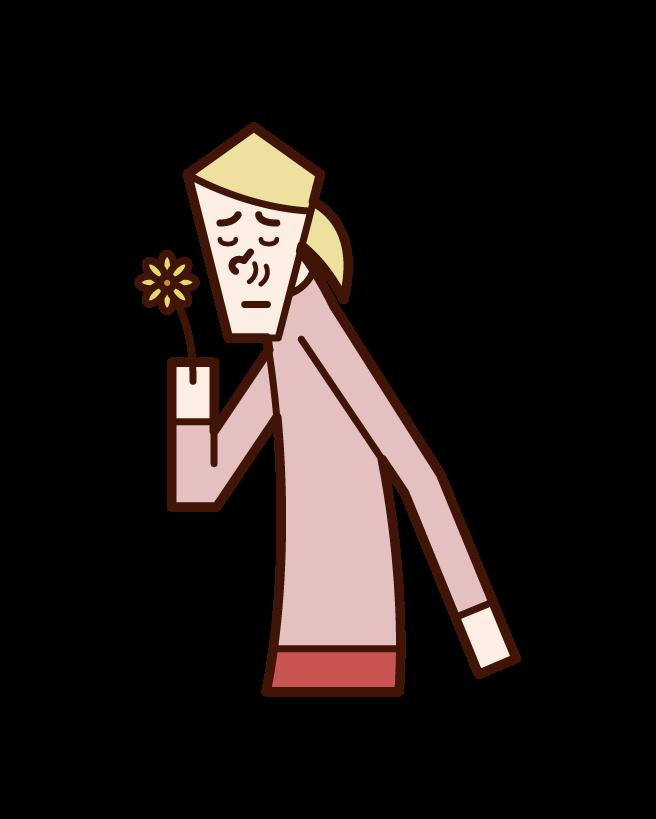 Illustration of good smell, fragrance, flower smell (female)