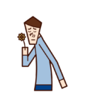 Illustration of good smell, fragrance, flower smell (male)