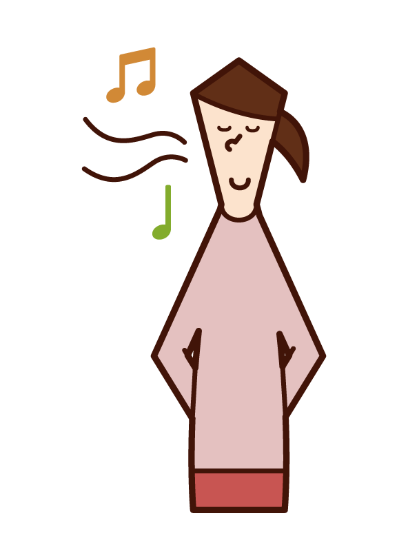 Illustration of a woman singing a nasal song
