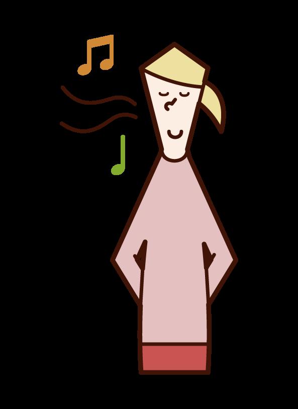 鼻歌を唄う人(女性)のイラスト