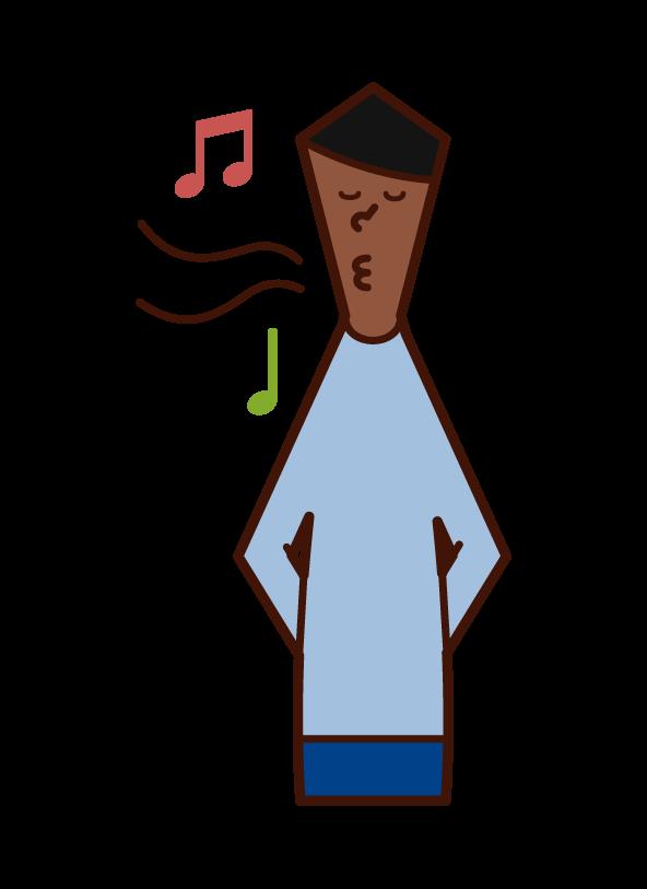 口笛を吹く人(男性)のイラスト