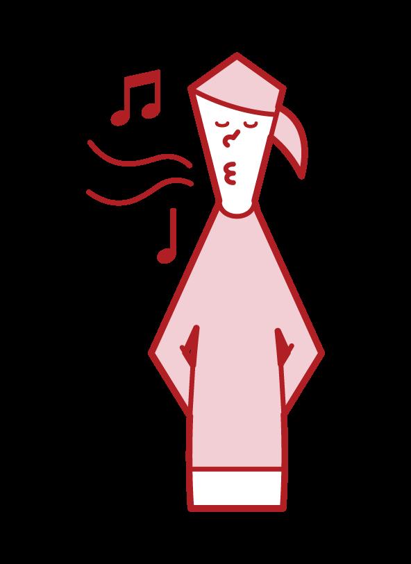 口笛を吹く人(女性)のイラスト