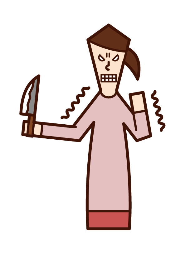 Illustration of grudge, grudge, hatred (woman)