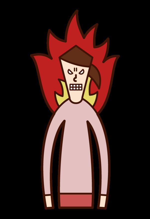 恨み・怨み・怒り(女性)のイラスト