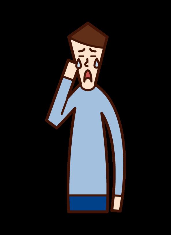 悲しみ・切なさ・感動(男性)のイラスト