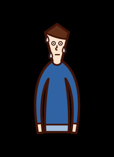 緊張している子供(男子)のイラスト