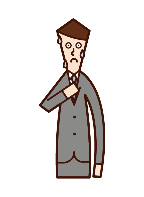Illustration of a nervous person (male)