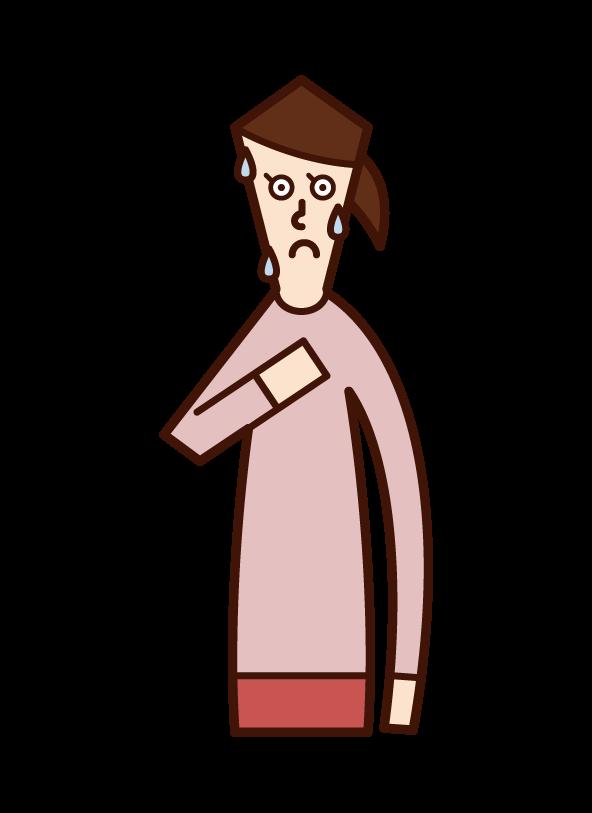 緊張している人(女性)のイラスト