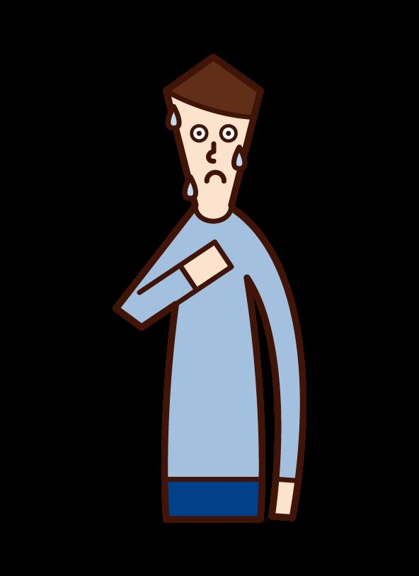 緊張している人(男性)のイラスト