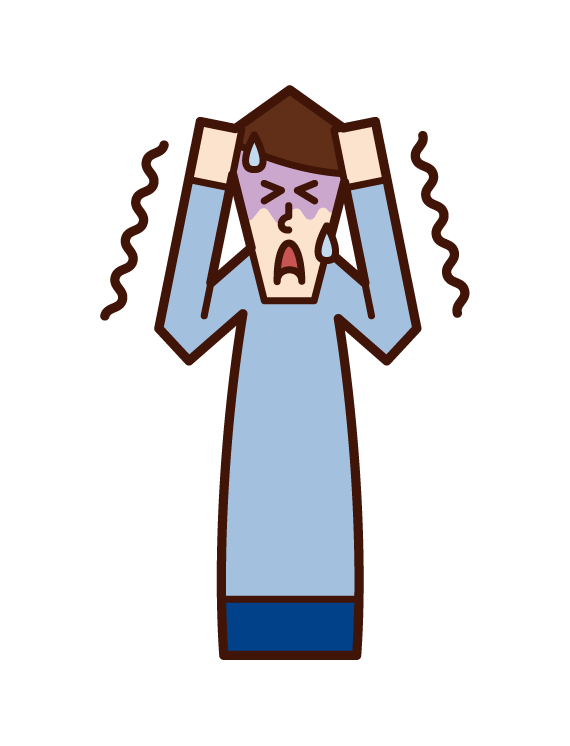 Illustration of a person (man) frightened by fear