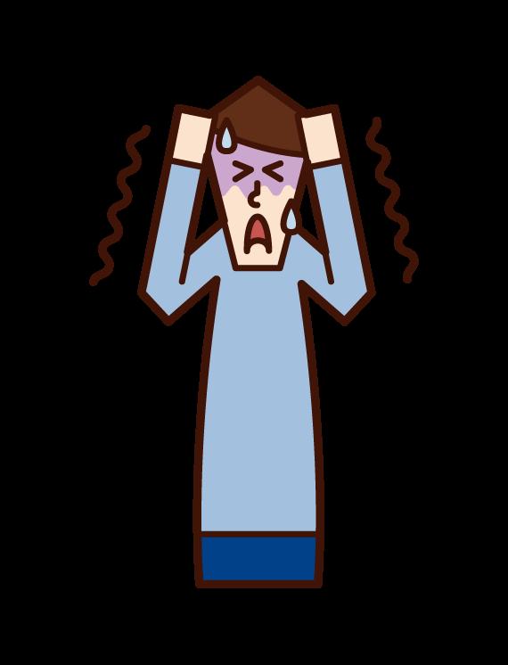 恐怖に怯える人(男性)のイラスト