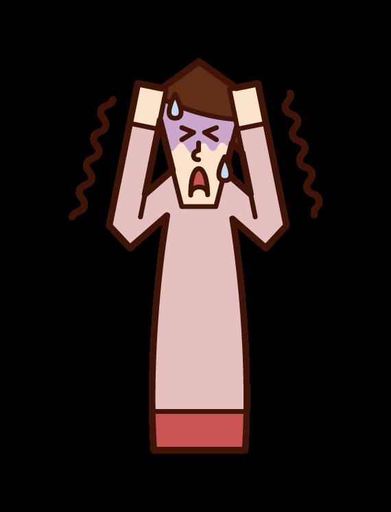 恐怖に怯える人(女性)のイラスト