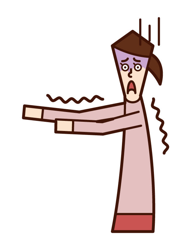 Illustration of a person (woman) frightened by fear