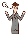 不滿和困惑(男性)的插圖