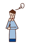 Illustration of a puzzled person (male)