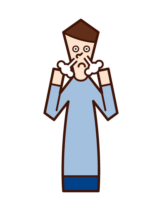 Illustration of an excited person (male)