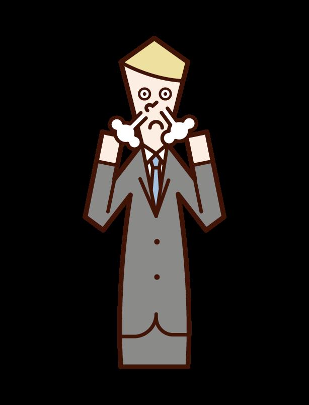 興奮する人(男性)のイラスト