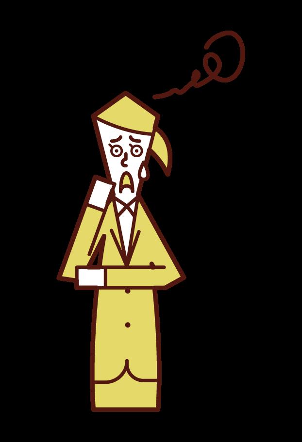困惑する人(女性)のイラスト