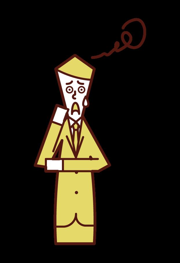 困惑する人(男性)のイラスト