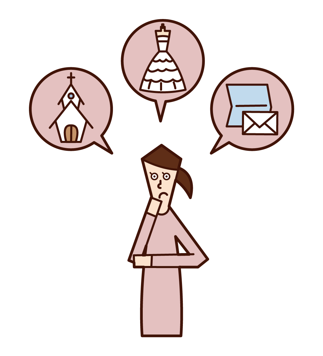 Illustration of a woman preparing for a wedding