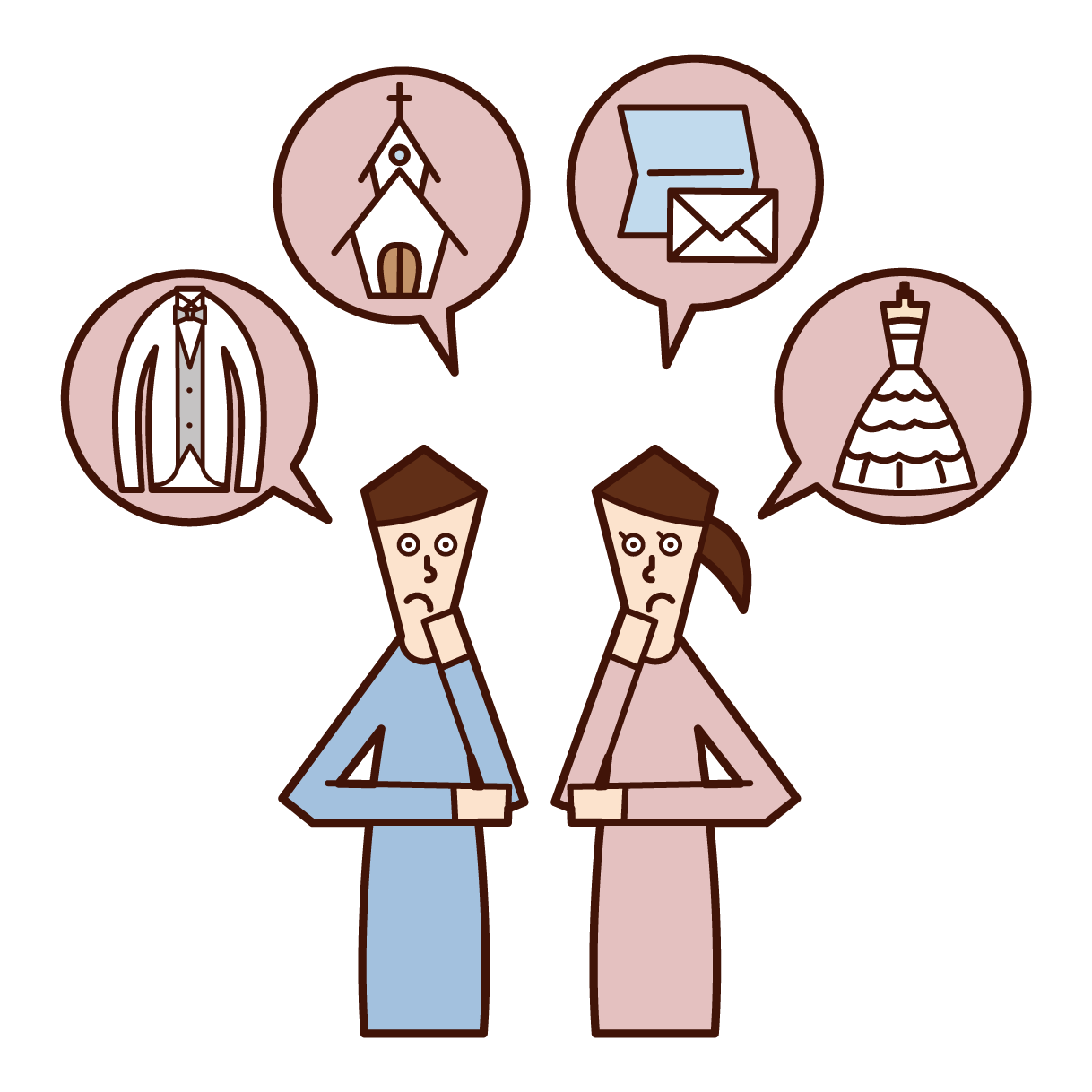 Illustration of couple preparing for wedding