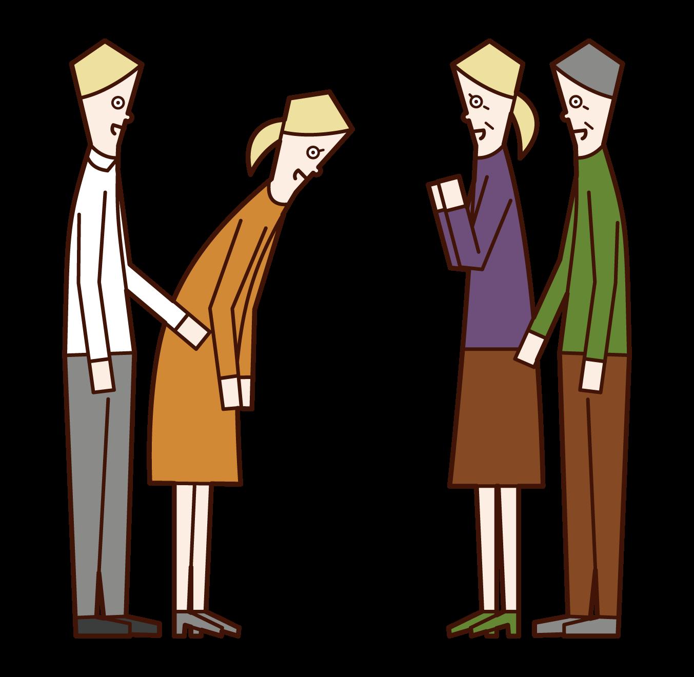 結婚の挨拶を両親へとするカップルのイラスト