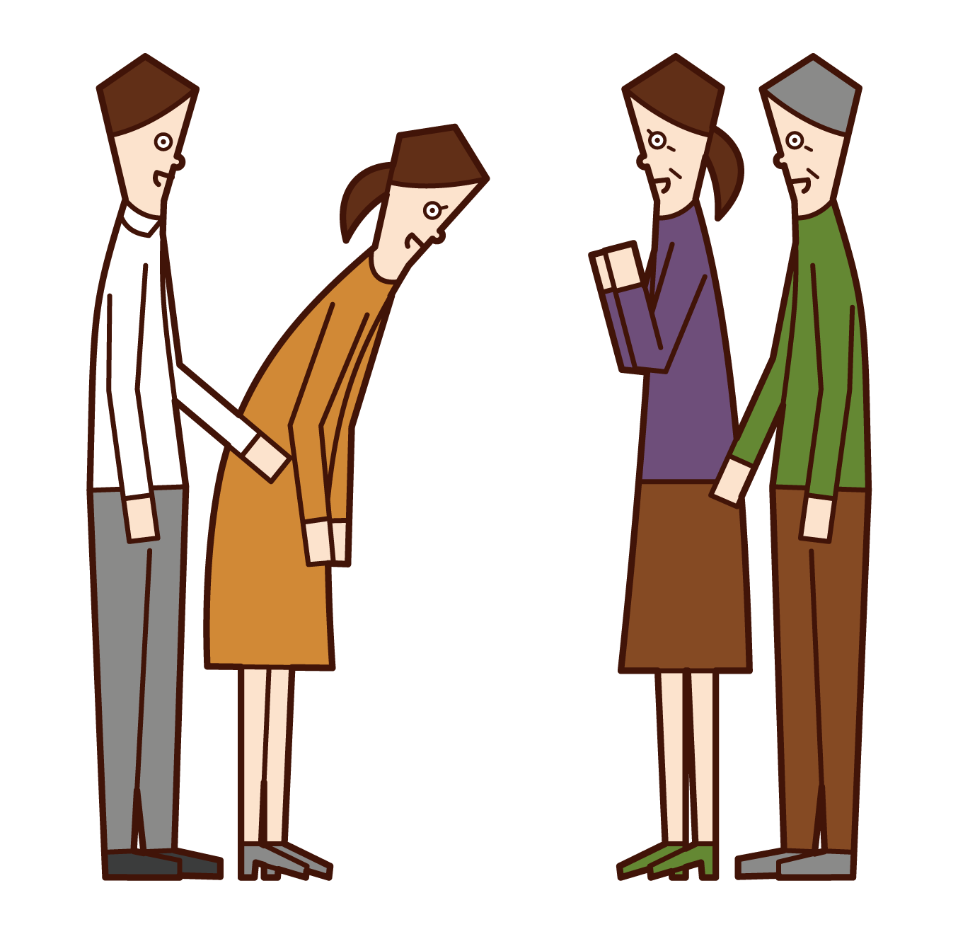 Illustration of a couple greeting their parents in marriage