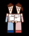 婚姻届を提出するカップルのイラスト