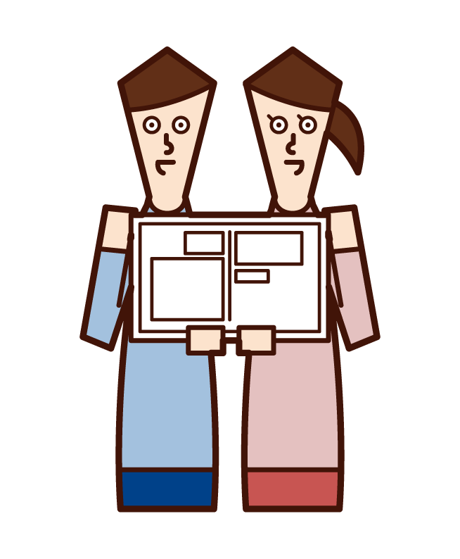Illustration of a couple filing a marriage registration