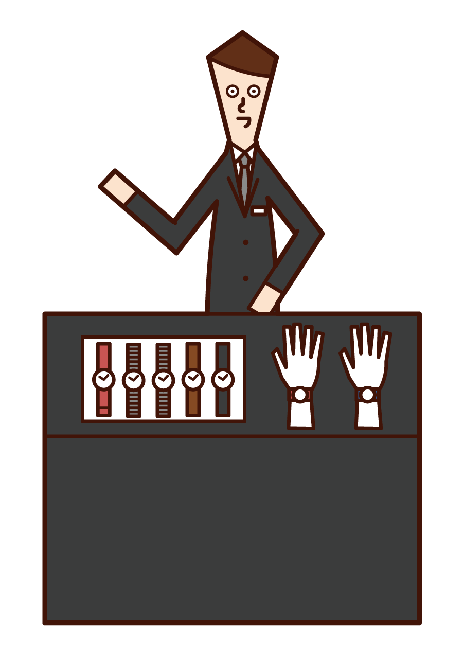 Illustration of a watch shop clerk (male)