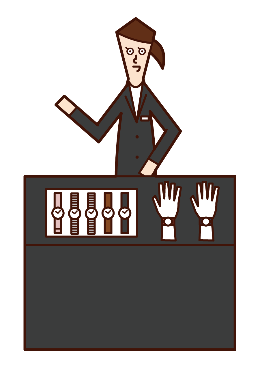 Illustration of a watch shop clerk (female)