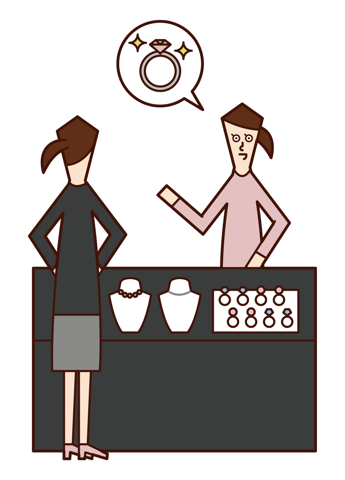 Illustration of a woman buying a ring at a jewelry store