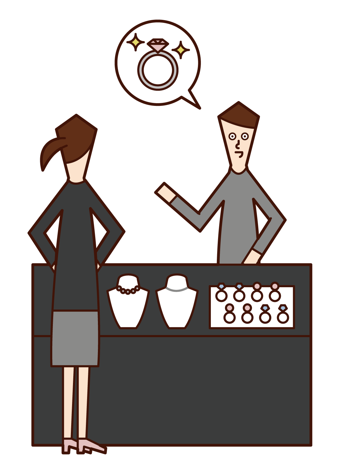 Illustration of a man buying a ring at a jewelry store