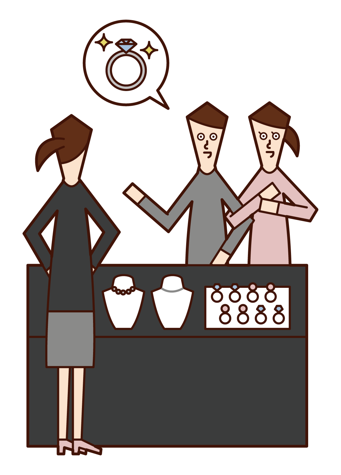 Illustration of a couple buying a ring at a jewelry store