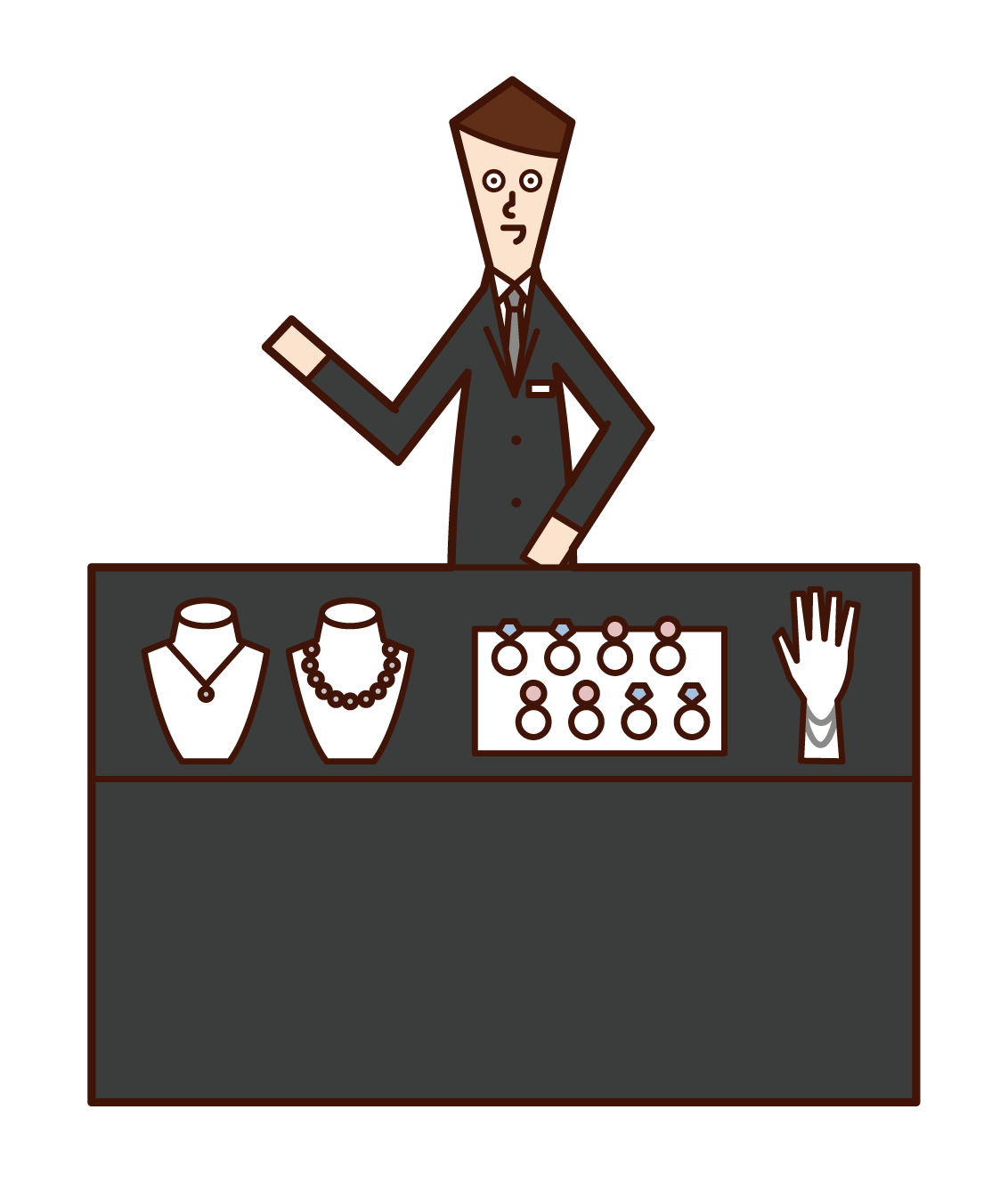 Illustration of a jewelry shop clerk (male)