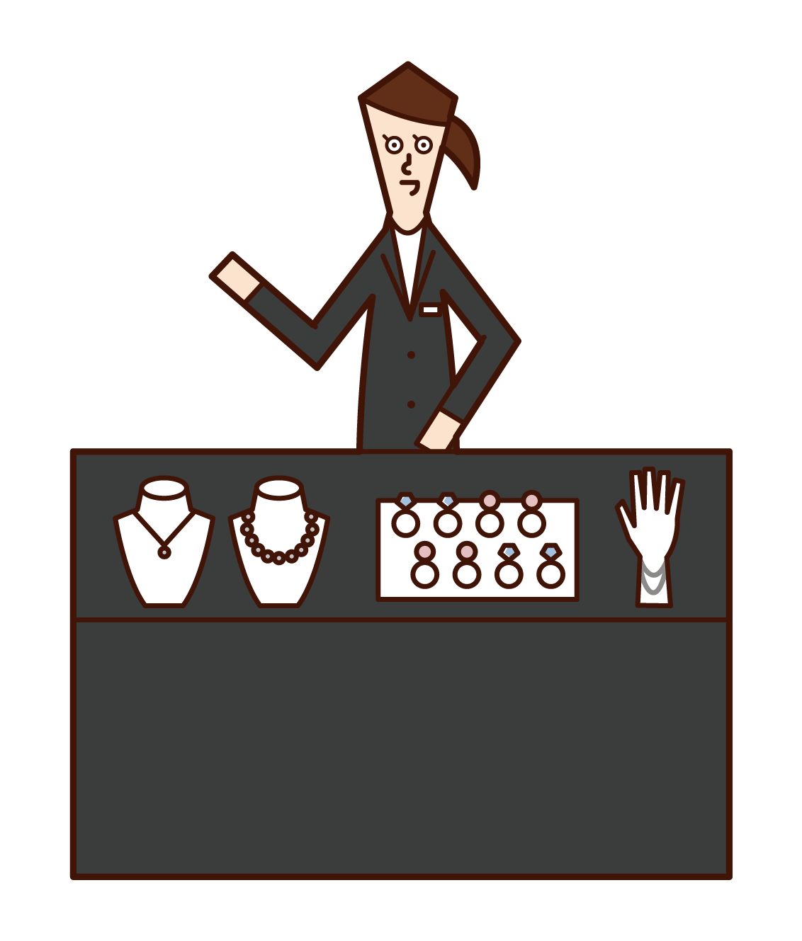 Illustration of a jewelry shop clerk (female)