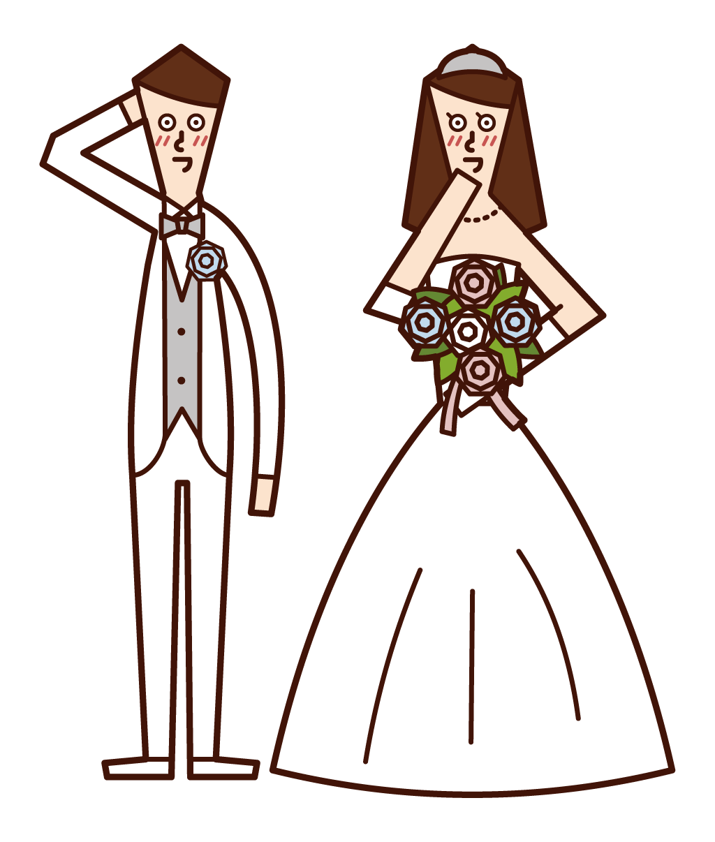 Illustration of a bright bride and groom