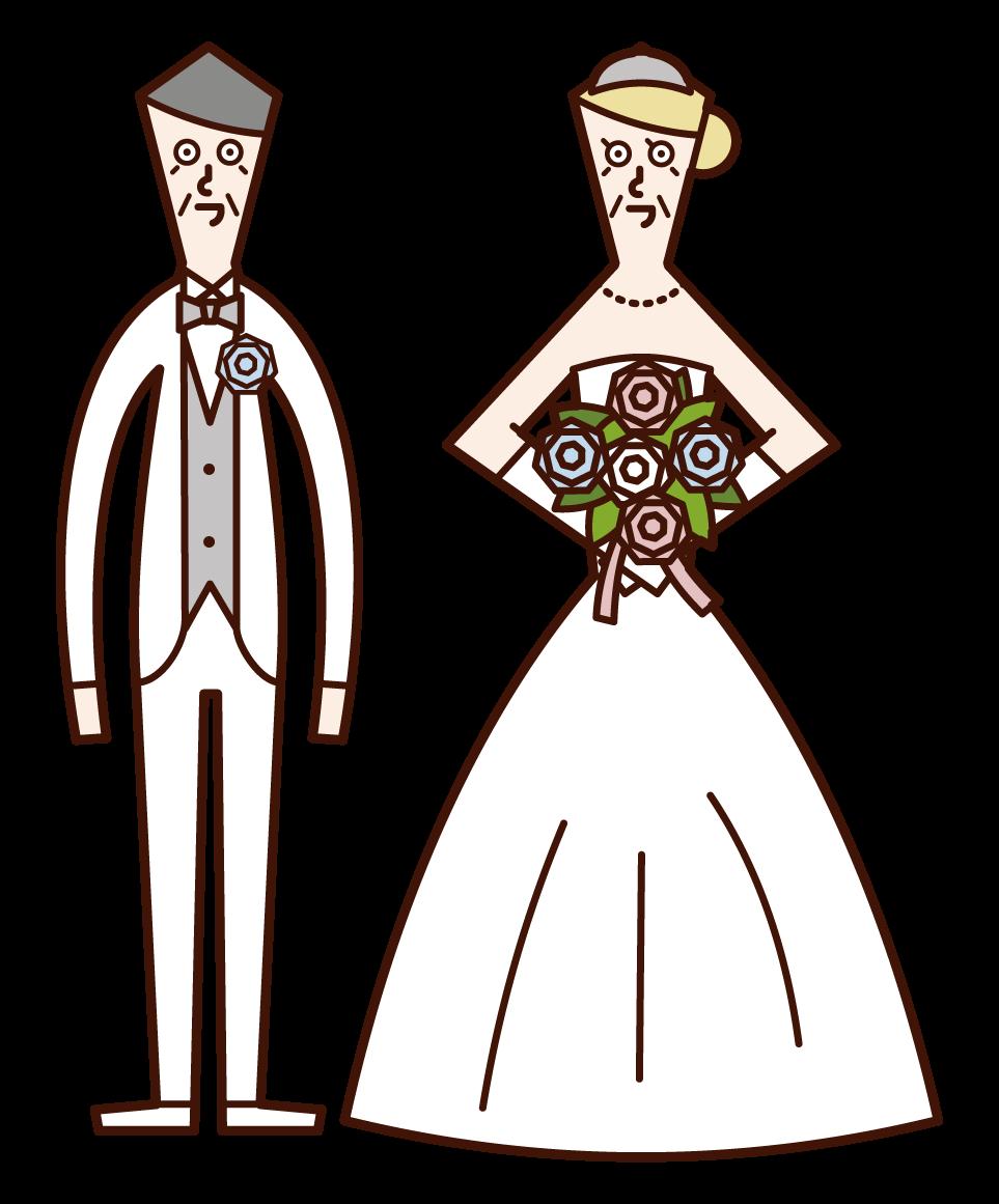 晩婚のカップルのイラスト