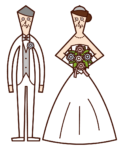 Illustration of a late married couple
